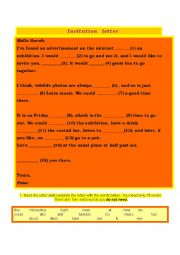 English Worksheet: invitation letter-gapfilling and more exercises with key