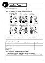 English Worksheet: Lesson 1 - meeting people