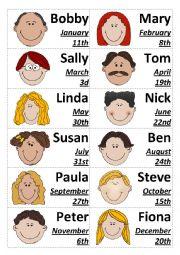 English Worksheet: When is Bobby�s birthday?