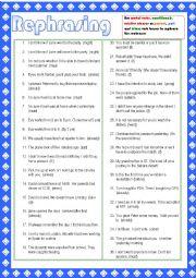English Worksheet: Rephrasing activities