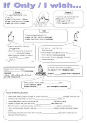 English Worksheet: If only/ I wish