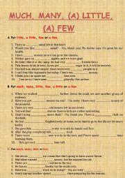 English Worksheet: Many, much, (a) little, fea, (a) few