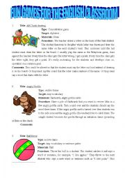 English Worksheet: 30 fun games for the english classroom