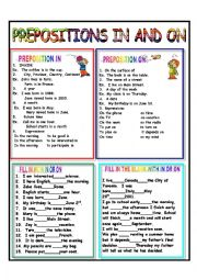 English Worksheet: PREPOSITIONS IN AND ON - ANSWER KEY INCLUDED