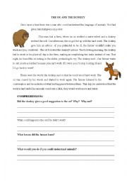 English Worksheet: The ox and the donkey