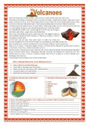 English Worksheet: Volcanoes and earthquakes