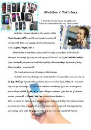 English Worksheet: Mobiles-cellulars - multiple choice test, reading comprehension and lots of exercises with key