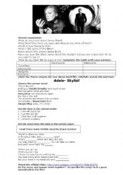 English Worksheet: Adele-skyfall