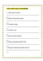 English Worksheet: Modal Verbs of Probability