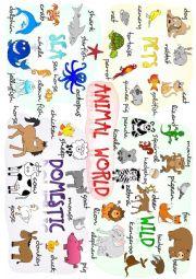 English Worksheet: Animals - poster