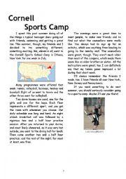 English Worksheet: Sports Camp test