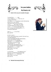 English Worksheet: For your babies by Simply Red