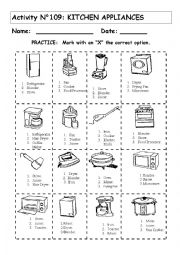 Kitchen Electric Appliances Esl Worksheet By Andresdomingo