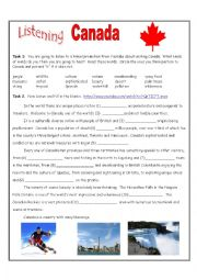 English Worksheet: Canada Travel Listening Exercise
