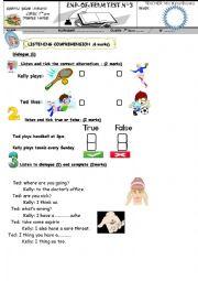 English Worksheet: MID TERM TEST N3  7TH FORM