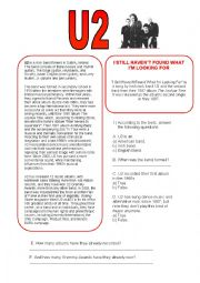 English Worksheets: I still haven´t found what I´m looking for - U2 (reading comprehension + song) - with answers!