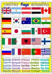 English Worksheet: countries flags nationalities