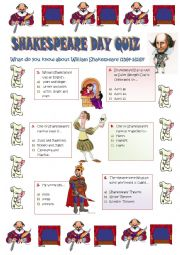 SHAKESPEARE DAY - 23 April - a quiz