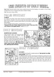 photo regarding Holy Week Activities Printable called Other worksheets worksheets