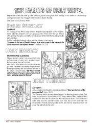 english worksheets holy week first part. Black Bedroom Furniture Sets. Home Design Ideas