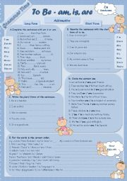 English Worksheet: Grammar Time Series � �To Be� Set (1) Affirmative � am, is, are