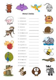 English Worksheet: Animal Similes