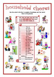 English Worksheet: household chores matching