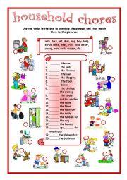 English Worksheet: household chores matching