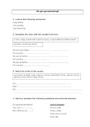 English Worksheet: Do you go swimming? With answer key.