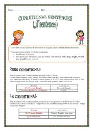 English Worksheet: Conditionals ZERO, First, Second and Third