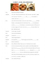 English Worksheet: A Carrot, An Egg, and Coffee Beans