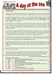 English Worksheet: A day at the zoo.  READING + WRITING
