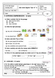 English Worksheet: mid term test number 3   7th orm