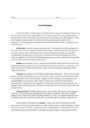 English Worksheet: Invertebrates Reading Comprehension