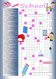 English Worksheet: Crossword: School
