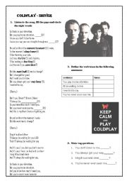 English Worksheet: Coldplay - Shiver