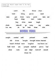 English Worksheet: movers verbs