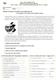 English Worksheet: mid term exam for 11th grade students