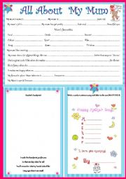 English Worksheet: All About My Mum