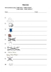 English Worksheet: there were / there was