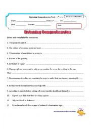 English Worksheet: listening test on Voluntourism