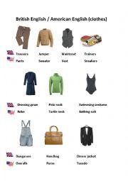 English Worksheet: British vs American English (clothes)