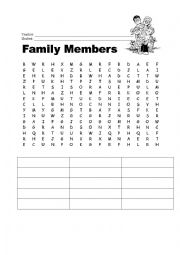 English Worksheet: Family Members Word Search