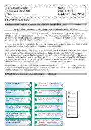 English Worksheet: mid term test N�3 (9th form)