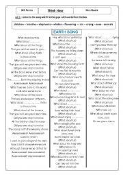 English Worksheet: earth song +endangered animals