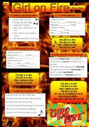 English Worksheet: Girl on Fire (Alicia Keys)