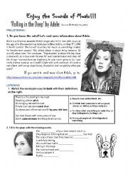 English Worksheet: Enjoy the sounds of music! Adele�s song