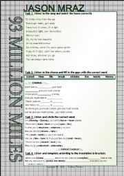 English Worksheet: ....:::: SONG WORKSHEET ::::.... - 93 MILLION MILES - JASON MRAZ
