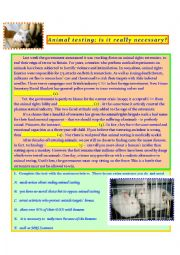 English Worksheet: Animal testing-reading comprehension, true/false, gapfilling and exam test with key