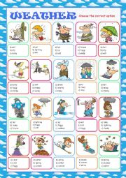 English Worksheet: Weather Multiple Choice